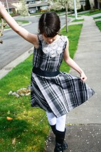 Organza flower yoke plaid dress