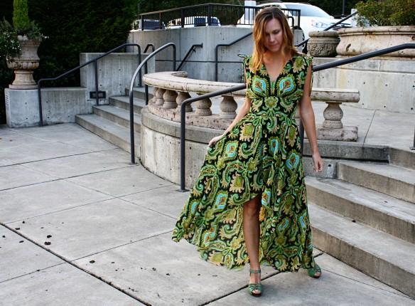 peacock dress holding