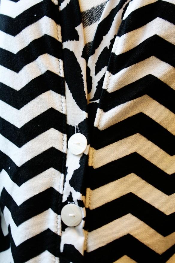 I used a zig zag stitch to mimic the chevron pattern