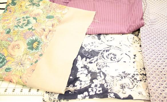 My favs--a wool panel print, 2 silk cottons, and a tiny print chiffon